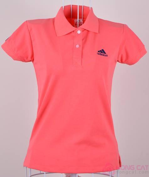 Áo phông đồng phục nữ vải cá sấu màu hồng